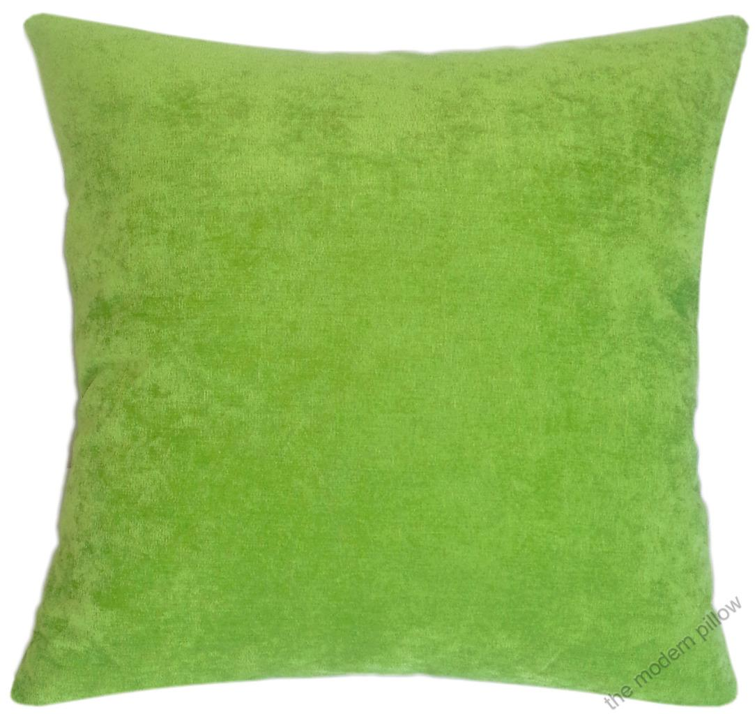 Throw Pillows Linen : Lime Green Velvet Solid Decorative Throw Pillow Cover / Cushion Cover / 18x18