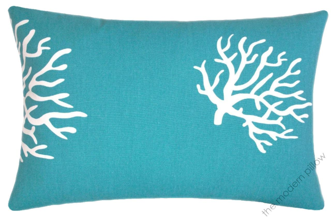 turquoise blue white coral decorative throw pillow cover