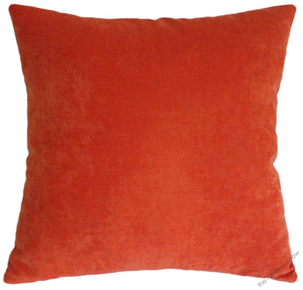 Velvet Decorative Pillow Covers : Orange Velvet Solid Decorative Throw Pillow Cover / Cushion Cover / 20x20