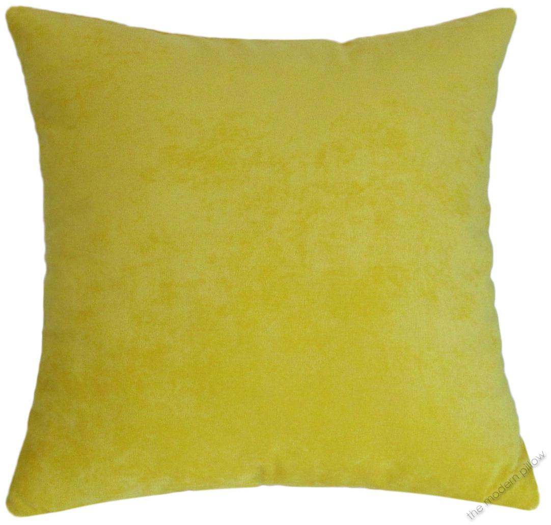 Yellow Velvet Solid Decorative Throw Pillow Cover / Cushion Cover / 20x20