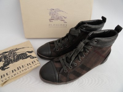 BN Mens Burberry Black Brown Leather Canvas Checked Ankle Boots
