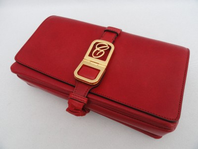 BN Auth Chloe Red Leather Shoulder Bag Large Clutch   Only Piece
