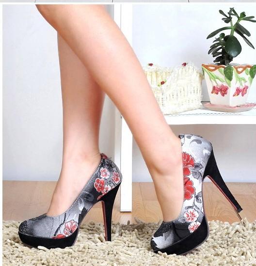 Floral Print Sexy Wemen Work Casual Heel Pump Stilettos