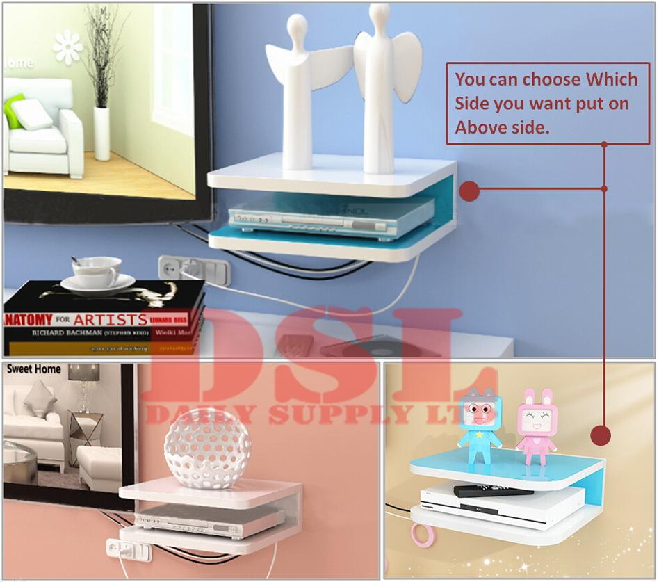 wall mount shelf cube sky box dvd hifi router cable tv. Black Bedroom Furniture Sets. Home Design Ideas