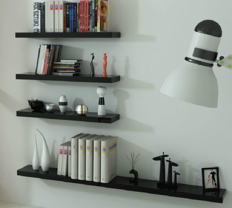 2 of high gloss floating wall shelves cd book display. Black Bedroom Furniture Sets. Home Design Ideas