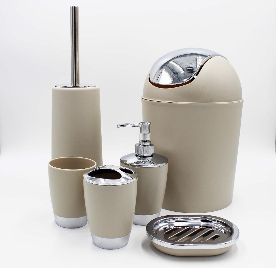 6pcs bathroom accessory set tumbler toilet brush lotion for Bathroom bin set