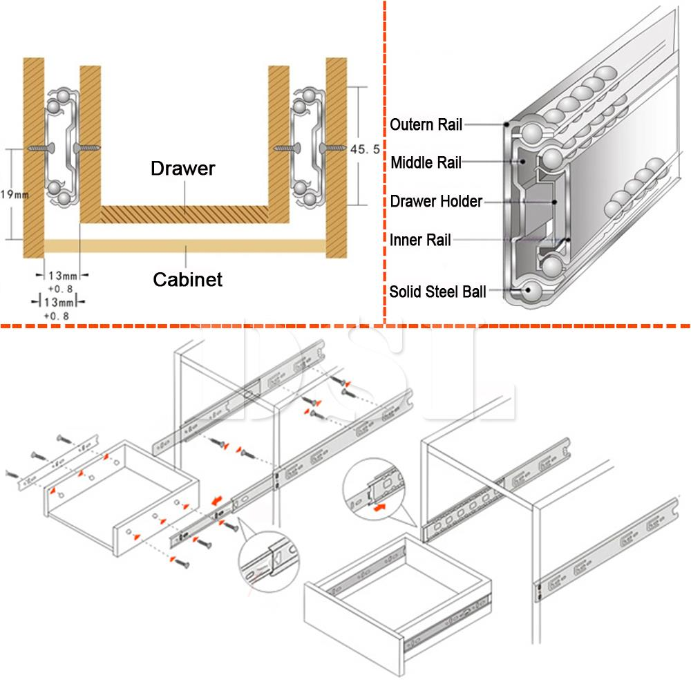Pair Of Double Fully Extension Ball Bearing Drawer Slide