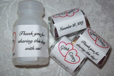 WEDDING BUBBLE LABELS AND CANDY WRAPPERS WEDDING FAVORS