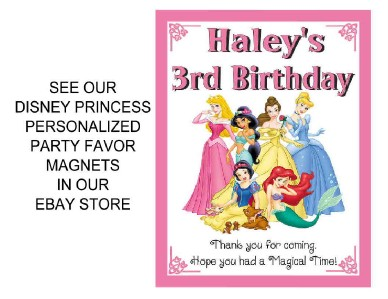 12 DISNEY PRINCESS BIRTHDAY PARTY FAVORS PHOTO MAGNETS