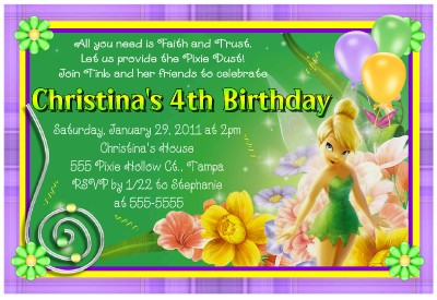 tinkerbell birthday party invitations with photo | ebay, Party invitations