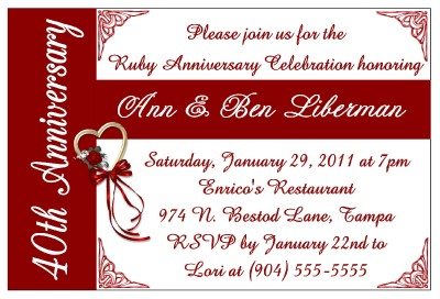 40th Wedding Anniversary Invitations on 40th Anniversary Party ...