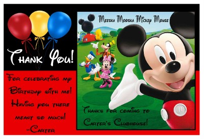 MICKEY MOUSE CLUBHOUSE BIRTHDAY THANK YOU CARDS ~ balloon design ...