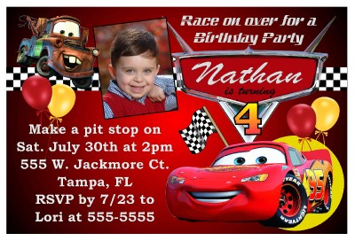 disney cars birthday party invitations  ebay, Birthday invitations