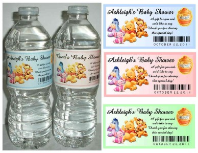 20 WINNIE THE POOH BABY SHOWER FAVORS WATER BOTTLE LABELS ~ Glossy