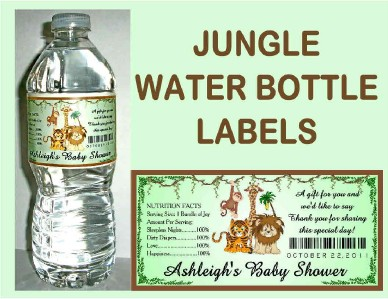 20 jungle baby shower favors water bottle labels glossy waterproof