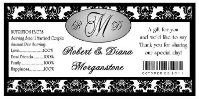 100 BLACK DAMASK WEDDING WATER BOTTLE LABELS Waterproof | eBay