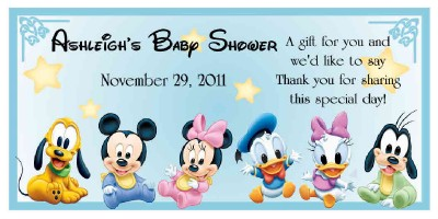 Water Babies Disney on 20 Disney Babies Mickey Minnie Baby Shower Favors Water Bottle Labels