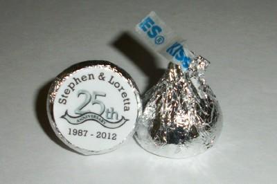 25th Wedding Anniversary Favors On 216 Silver Hershey Kiss