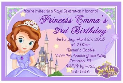 PRINCESS SOFIA THE FIRST BIRTHDAY INVITATIONS DESIGN | eBay