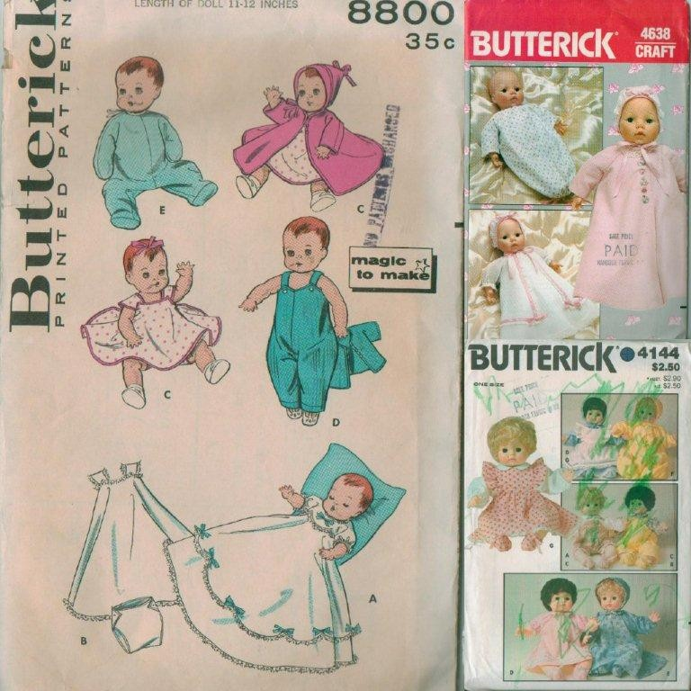 vintage butterick baby doll clothes sewing pattern