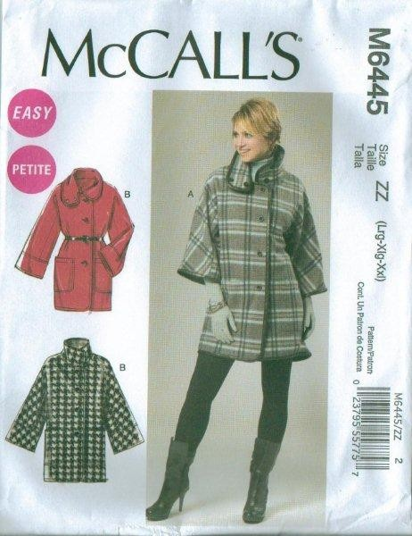 New McCalls Misses Plus Size Coats Jackets or Capes Sewing Pattern ...