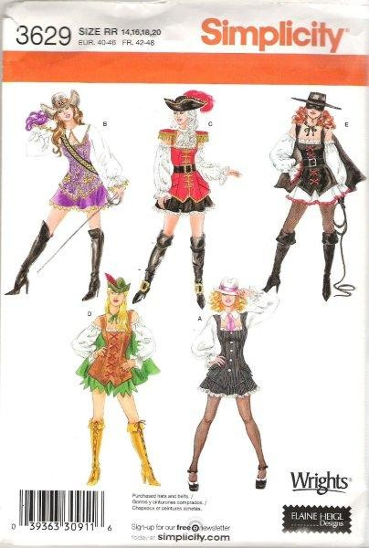 Simplicity Adult Halloween Costume Sewing Pattern Misses Men Ladies