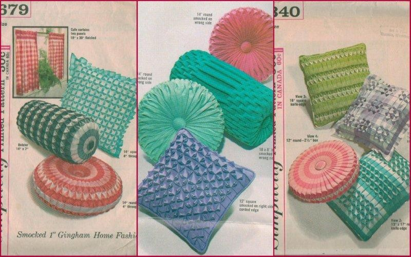 Vintage 1960s Smocked Bolster Square Round Rectangle Throw Pillow Sewing Pattern eBay