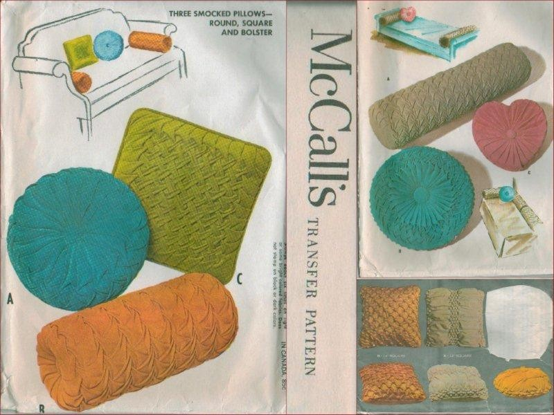 Vintage McCall s 1960s Smocked Throw Pillow Smocking Transfer Sewing Pattern Vtg - $19.99 PicClick