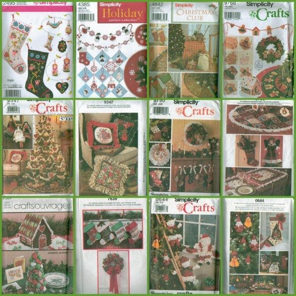 Simplicity-Christmas-Holiday-Tree-Trim-Ornaments-Garland-Stocking-Sewing-Pattern