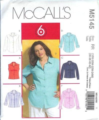 McCalls-Sewing-Pattern-Blouses-Tops-Shirts-Tunics-Plus-Size-18W-20W-22W-24W-XLG