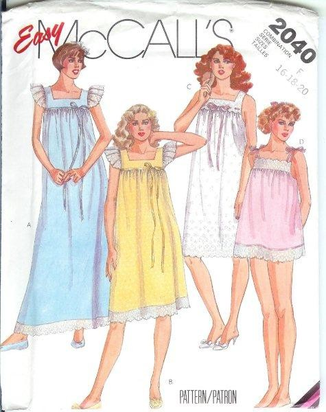 OOP McCall\'s Sleepwear Pajamas PJs Nightgown Robe Sewing Pattern ...