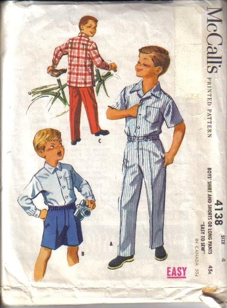 Vintage Mccalls Sewing Pattern Boys Clothing Outfits Mccalls