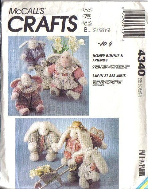 McCalls-Sewing-Pattern-Stuffed-Bunny-Rabbit-McCall-039-s-Easter-Bunnies-Your-Choice