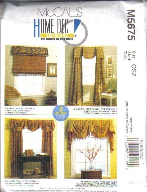 Oop mccall s sewing pattern home décor window treatment