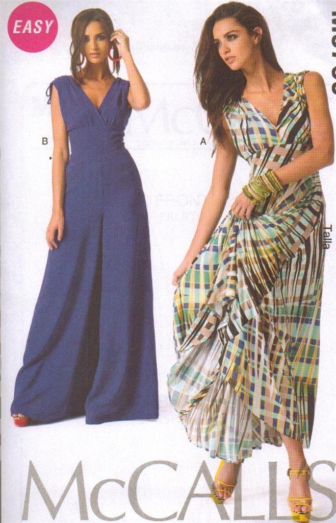 Fácil mccalls patrón de costura 6760 Fashion Star Vestido Y Mono De ...