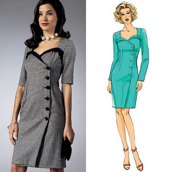 Vintage Retro Sewing Pattern Misses Fitted Wrap Dress w Band ...