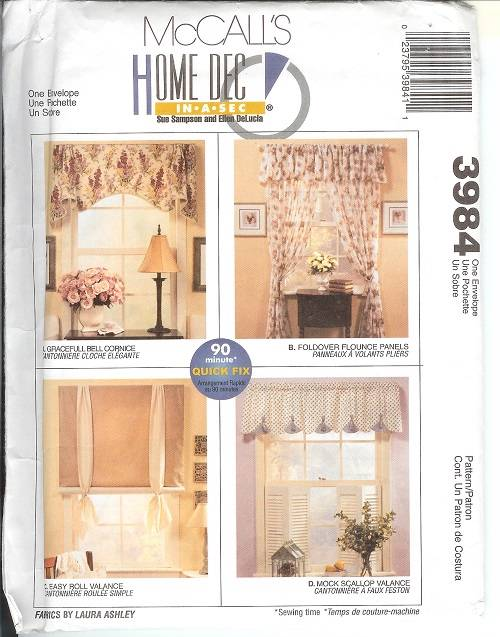 OOP McCalls Sewing Pattern Window Treatment Curtains Toppers Drapery ...