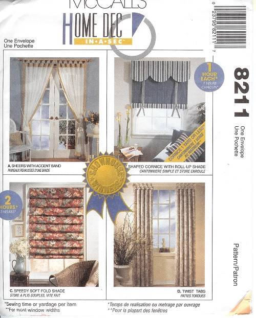 OOP McCalls Sewing Pattern Window Treatment Curtains
