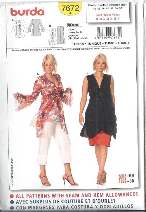 Burda Sewing Pattern Misses Clothes Pattern With Plus Size ...