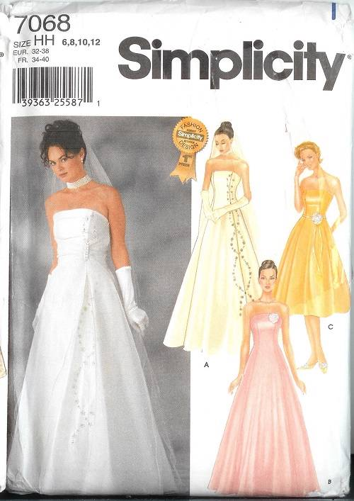 Simplicity Sewing Pattern Bridal Evening Gown Bridesmaid Prom Party