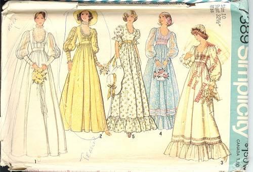 Vintage 70s 80s Simplicity Sewing Pattern Misses Bride Bridesmaids Wedding Dress