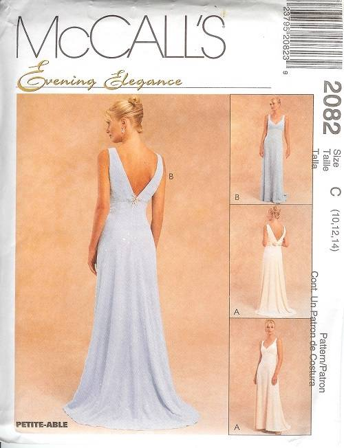 Mccalls sewing pattern misses bridal evening gown for Wedding dress patterns mccalls