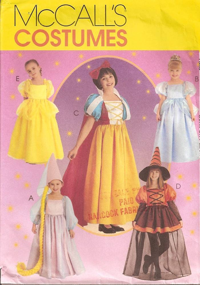 Belle Rapunzel Cinderella Snow White Costume McCalls Sewing Pattern ...