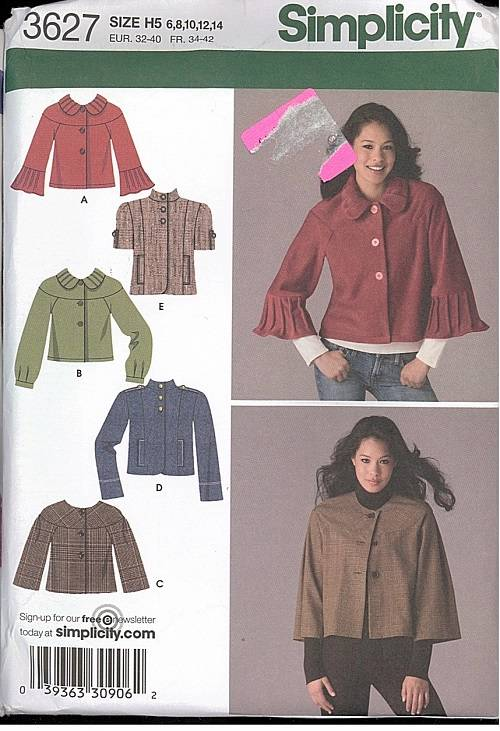 OOP Simplicity Sewing Pattern Misses Coats Jackets Winter