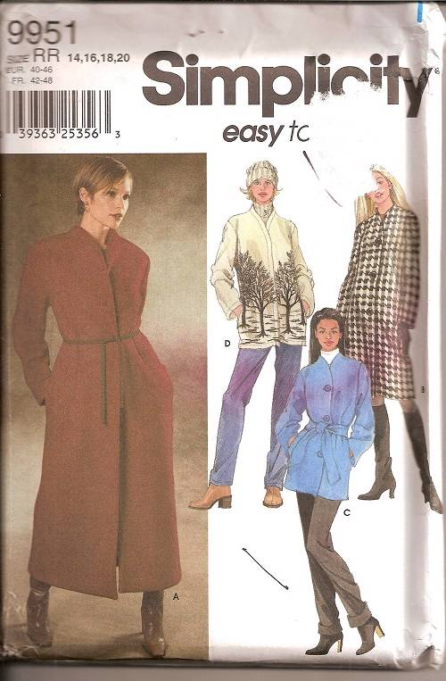 Simplicity Sewing Pattern Coats Jackets Misses Winter Outerwear