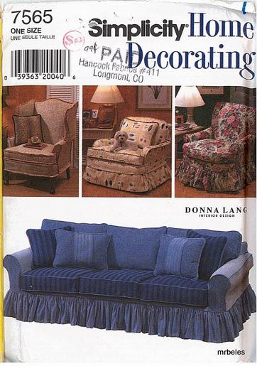 Oop simplicity sewing pattern furniture covers for chairs for Furniture covers patterns
