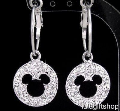 DISNEY-MICKEY-MOUSE-HOOP-EARRINGS-USE-SWAROVSKI-CRYSTAL