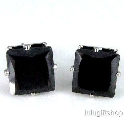 10MM-BLACK-CUBIC-ZIRCONIA-CZ-HIP-HOP-MENS-STUD-EARRINGS