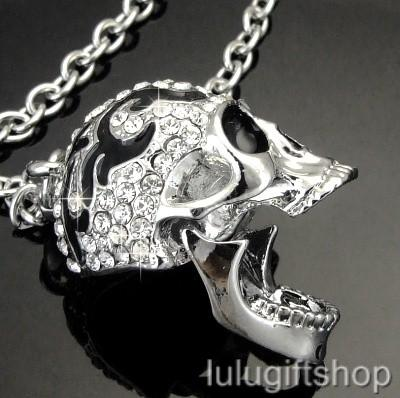 18k white gold plated skull pendant necklace use swarovski crystals