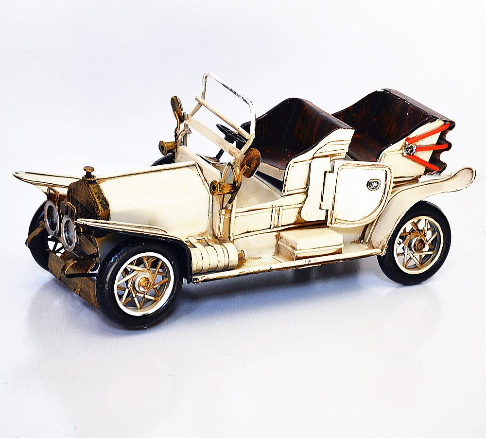 Handmade-Archaized-Metal-Art-Old-Classic-Car-Landaulet-Model-Creamy-Color-8136